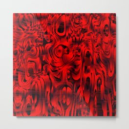Bright smudges of magical infinity from red lines and dark hypnotic fixation. Metal Print