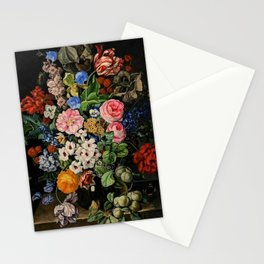 Parrot Tulips, Roses, Dahlias, Zinnia & Fig Bouquet  (Flowers of the Imagination) by Rachel Ruysch Stationery Cards
