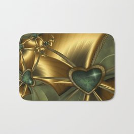 Malachite Heart On Gold Bath Mat