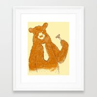 the office Framed Art Prints featuring Office Bear by Tobe Fonseca
