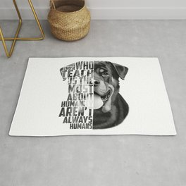 Rottweiler Quote Text Portrait Rug