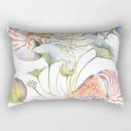 Nautilus and Lotus Surreal Watercolor Sea Animal Botanical Design Rectangular Pillow