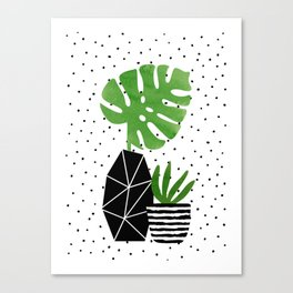 Monster Leaf and Pot Canvas Print