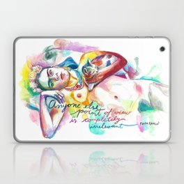 FRIDA KAHLO with cat - Watercolor portrait Laptop & iPad Skin