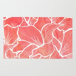 Modern white handdrawn flowers coral watercolor pattern Rug