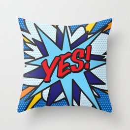 Comic Book YES! Throw Pillow