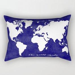 The world awaits in navy blue Rectangular Pillow