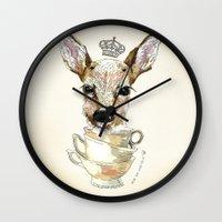 bambi Wall Clocks featuring Bambi  by Iria do Castelo