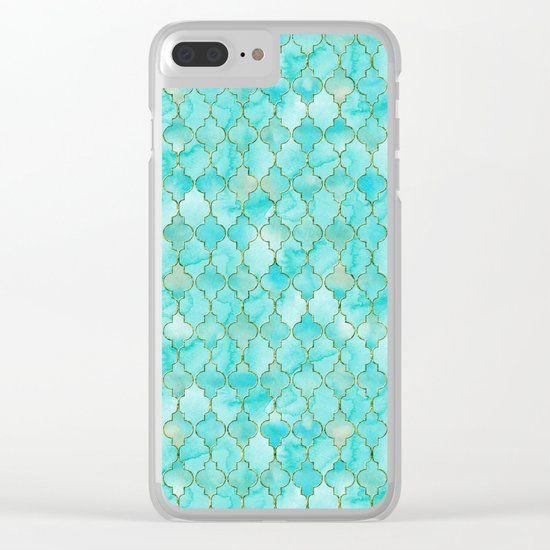 Luxury Aqua Teal and Gold oriental quatrefoil pattern Clear iPhone Case