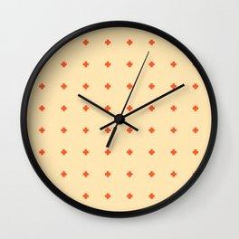 Red Orange Plus Pattern Wall Clock