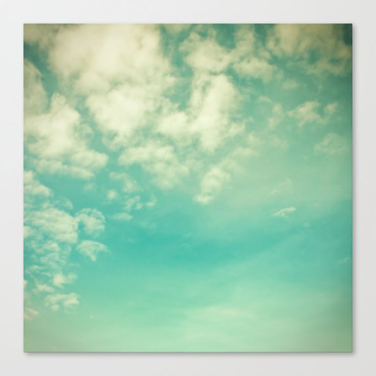Retro Vintage Blue Turquoise Fall Sky and Clouds Canvas Print