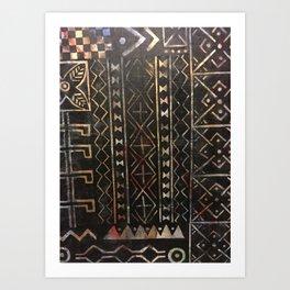 Golden Mud Cloth Art Print