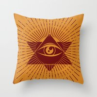 third eye Throw Pillows featuring Third Eye by Stranger Designs