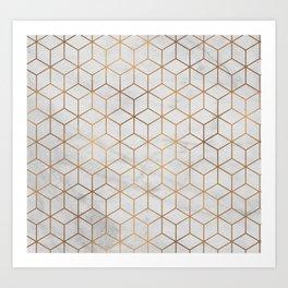 Marbled Copper Cubes Art Print