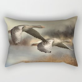 Wild Geese Flying Over Pond Rectangular Pillow