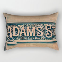 Adams St The Loop Chicago City Center Downtown Building Street Sign Rectangular Pillow