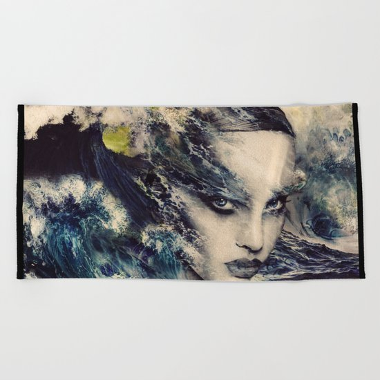 THE STORY OF A LACING WAVE Beach Towel