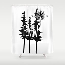 PNW Trees & Compass Shower Curtain
