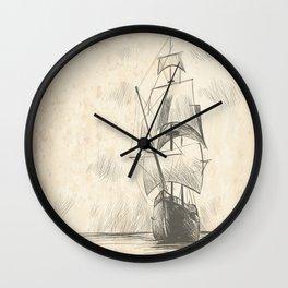 Vintage hand drawn galleon background Wall Clock