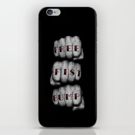 FREE FIST BUMP / Photograph of grungy fists with tattooed knuckles iPhone Skin