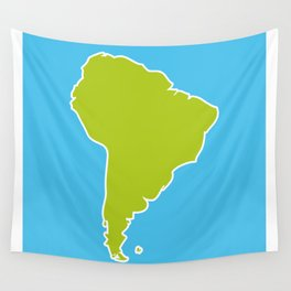 South America map blue ocean and green continent. Vector illustration Wall Tapestry