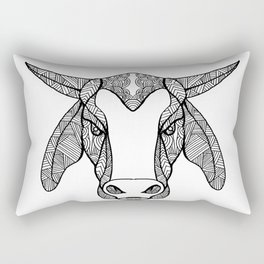 Brahma Bull Head Mandala Rectangular Pillow