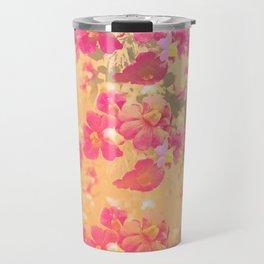 flowers, flowers, rose, silver, orange, gold, colored, vintage, elegant, textile, Travel Mug