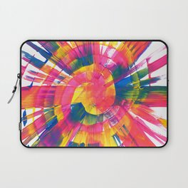 Neon Rainbow Paint Spiral Abstract Laptop Sleeve