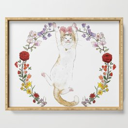 Fuku the Cat in Floral Wreath Serving Tray