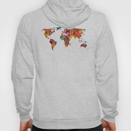 Map of The World 2 -Colorful Abstract Art Hoody