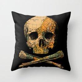 Treasure Map Skull Wanderlust Europe Throw Pillow