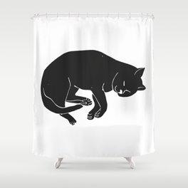 Sleepy Cat takes a nap | Linocut Shower Curtain