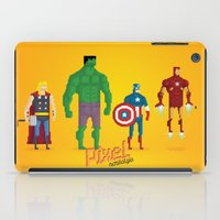 super heroes iPad Cases featuring Super Heroes - Pixel Nostalgia by Boo! Studio