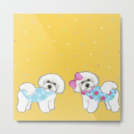 Bichon Frise Dogs in love- wearing pink and blue on yellow Metal Print