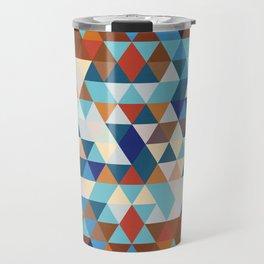 Geometric Triangle Blue, Brown  - Ethnic Inspired Pattern Travel Mug