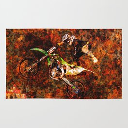 """""""On Fire"""" Freestyle Motocross Rider Rug"""