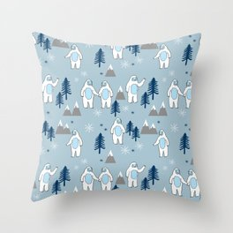 Yeti winter christmas cute forest pattern kids nursery holiday gifts Throw Pillow