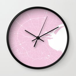 Dublin Street Map Pink and White Wall Clock
