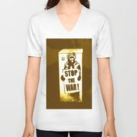 grafitti V-neck T-shirts featuring STOP THE WAR !!! by Die Farbenfluesterin