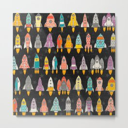 retro rockets graphite Metal Print