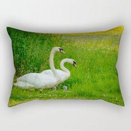 Swans Family Rectangular Pillow
