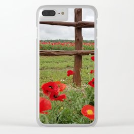 Poppies with Cedar Fence Clear iPhone Case