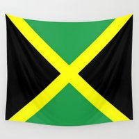 jamaica Wall Tapestries featuring Jamaica Flag by D.A.S.E. 3