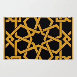 Black and Yellow Islamic Geometric Art Rug