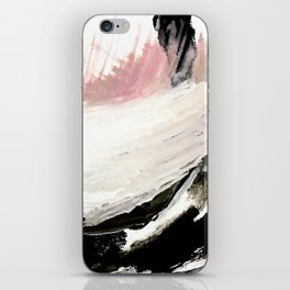 Crash: an abstract mixed media piece in black white and pink iPhone Skin