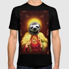 Holy Pizza Sloth Lord Jesus All over big print Animal Savior T-shirt