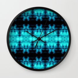 Turquoise Blue Black Diamond Gothic Pattern Wall Clock