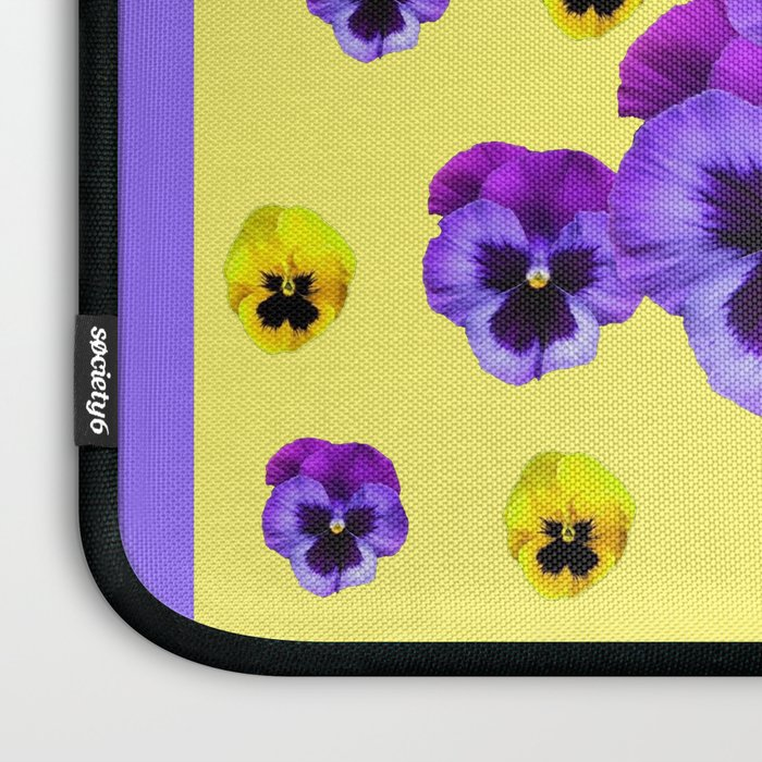 LILAC FRAMED YELLOW & PURPLE PANSY GARDEN FLOWERS Laptop Sleeve