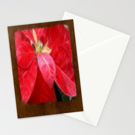 Mottled Red Poinsettia 2 Blank P3F0 Stationery Cards