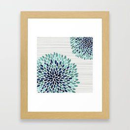 Blooms and Stripes, Aqua and Navy Framed Art Print